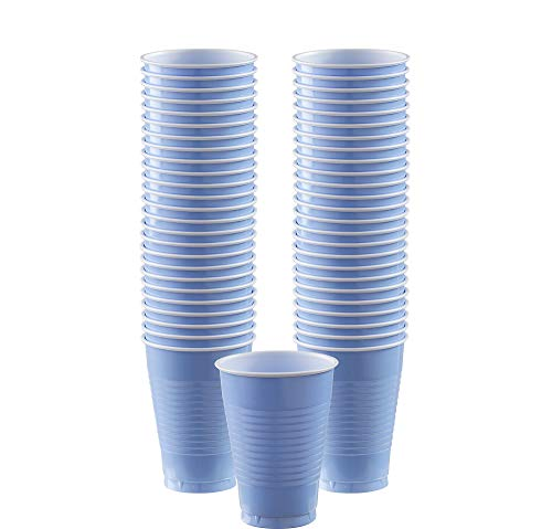 Amscan Reusable Pastel Blue Plastic Cups Big Party Pack, 12 Oz., 50 Ct. ()