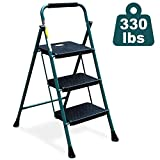 HBTower 3 Step Ladder, Folding Step Stool with Wide Anti-Slip Pedal, Sturdy Steel Ladder, Convenient Handgrip, Lightweight 330lbs Portable Steel Step Stool, Green and Black