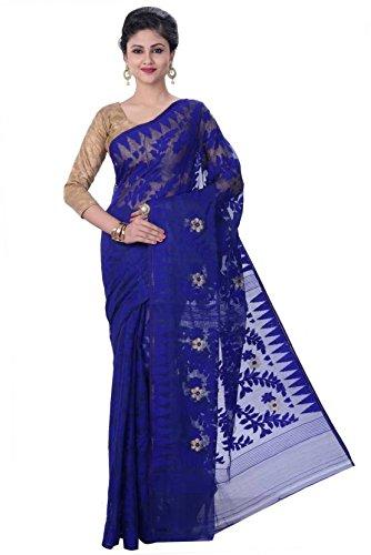 Best Blue Color Dhakai Jamdani Handloom Resham Women Saree