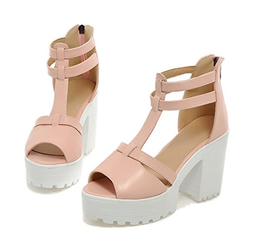 Womens AIsun Peep Toe Trendy Comfy Dress Strap Platform Pink T Sandals 4ddR6w