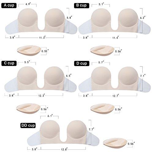 3611030b0a7a4 LamourLove Strapless Bra Push up Bras for Women Deep U-Shaped Backless  Adhesive Bra (