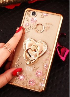 san francisco 2ad07 5850b Higar Xiaomi Redmi 4 (May-2017) Luxury 3D Ring Holder Stand Back Cover Case  for Girls - Golden