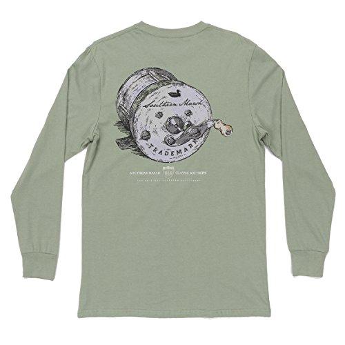 Bite Green T-shirt - Southern Marsh Fishing Reel Long Sleeve T-shirt-Bay Green-large