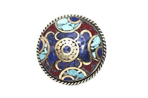 Turquoise Coral Lapis Ring, Tibetan Ring, Nepal Ring, Gypsy Ring, Boho Ring (9)