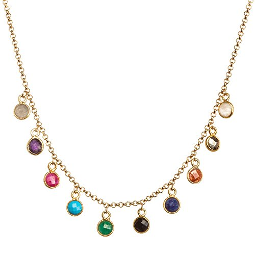 Dogeared Ancient Moon Rising Seek It All, Bezeled Kitchen Sink Gold Chain Necklace, 15