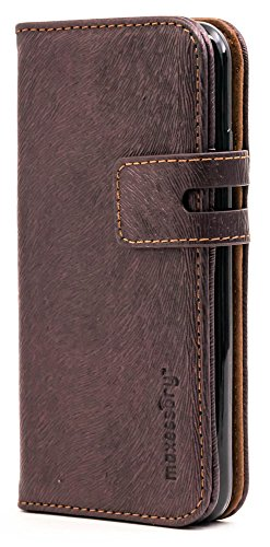 Maxessory Executive Luxury Premium Real Genuine Leather Wallet Folio Protector Carrying Cover w/Folding Credit Card Holder Brown Case Compatible with iPhone 7, iPhone 8 (4.7 inch)