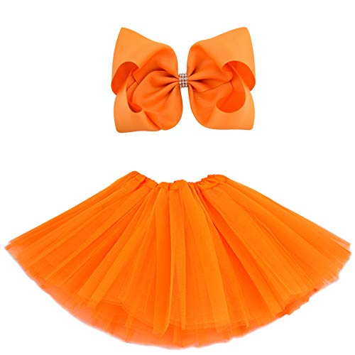 BGFKS 5 Layered Tulle Tutu Skirt for Girls with Hairbow and Hairties, Ballet Dressing Up Kid Tutu Skirt (Orange, 2-8 Years Old) (Orange Skirt Girls)