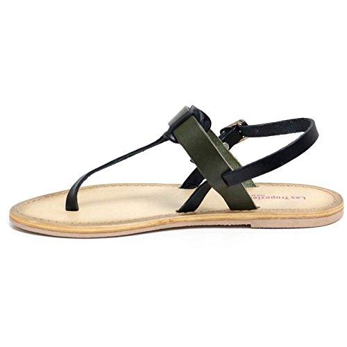 8 Størrelse Tå Kvinners Oliven Skinn Sommer Sort Flat 3 Sandaler Legg Hæl Damene Sko Slingback 7Svcv