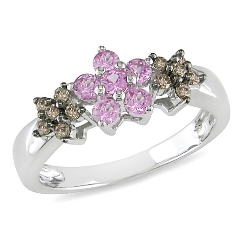 10K White Gold, Brown Diamond and Pink Sapphire Ring, (.2 cttw, I2-I3 Clarity), Size 7