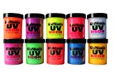 UV Neon Black Light fluorescent acrylic paint 10 assorted super bright poster wall art craft colors