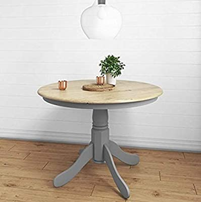Mesa de comedor redonda con pedestal de madera maciza rústica de ...