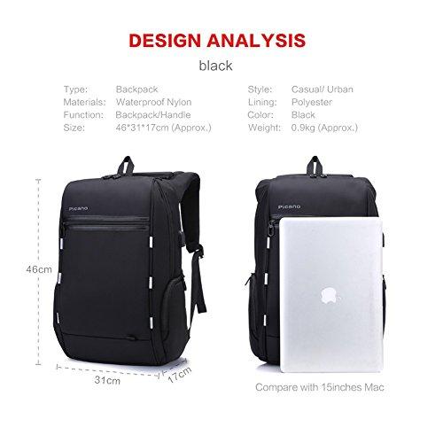 15.6 Zoll Laptop Rucksack mit USB Ladeanschluss, wasserdicht Laptop Tasche für Männer und Frauen, Anti-Diebstahl-Rucksack für Laptop / Notebook / Computer (schwarz)