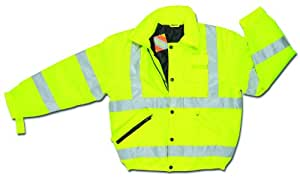MCR Safety BMRCL3LX3 Luminator Class 3 Insulated Polyester Bomber Jacket with Loop Adjustable Wrist and 3M Scotchlite Reflective Strip, Fluorescent Lime Green, 3X-Large
