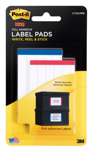 UPC 051141939087, Post-it Super Sticky Label Pads, White with Side Color Bars, Removable, 2 x 3 Inches, Lined, 50 per Pack (2900-RBH)