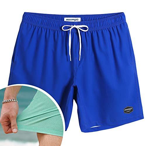 "MaaMgic Mens Athletic 7"" Running Swimming Shorts with Mesh Lining Trunks 4 Way Stretchy Shorts with Pocket Royal Blue"