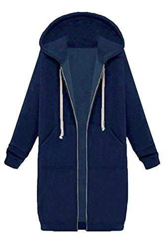 BLACKMYTH Femme Fermeture Longue Manteau Capuche Casual Pull-over Outwear Veste Avec Pocket Bleu