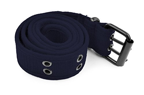 Belle Donne - Web Belt Double Grommet Adjustable Canvas Belt Military Style (Navy Canvas Belt)