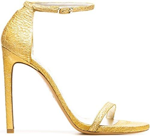 "905998e5fc5b Amazon.com  Stuart Weitzman ""Nudist"" Sandals Oro Foil Nappa 6  Shoes"