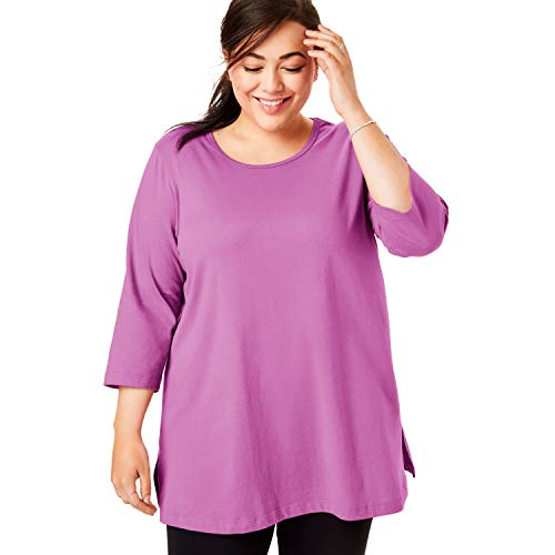 Woman Within Women's Plus Size Perfect Scoop Neck Three-Quarter Sleeve Tunic - Rose Bud, 4X - Ladies 34 Sleeve