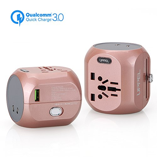 Travel Adapter with QC3.0, UPPEL Universal Power Plug, International Wall Charger All in One Worldwide AC Socket Converters with USB Port for US, AU, Asia, EU, UK and Over 150 Countries(Rose Gold) ...