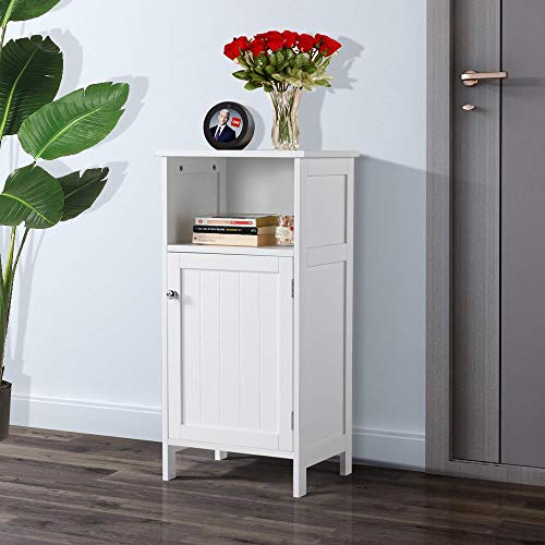 Yaheetech Contemporary Wooden Floor Cabinet - Bathroom Storage Furniture with Inner Adjustable Shelf and Open Cube, White