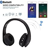 HOBBYN Bluetooth Headphones Over Ear, Foldable Wireless Stereo Sports Bluetooth Headphone Headset with Mic for iPhone/iPad/PC (Black)