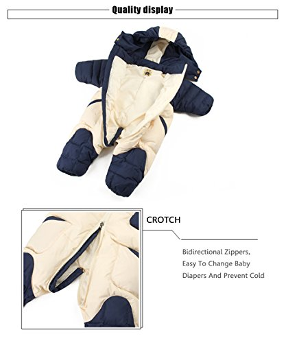 Puffer Wear Jumpsuit Hooded Baby Boy Winter Baby Snowsuit Snowsuit Snow Jacket Duck and Warm Down Romper Kids GainKee Girl Blue xw7PqSnC