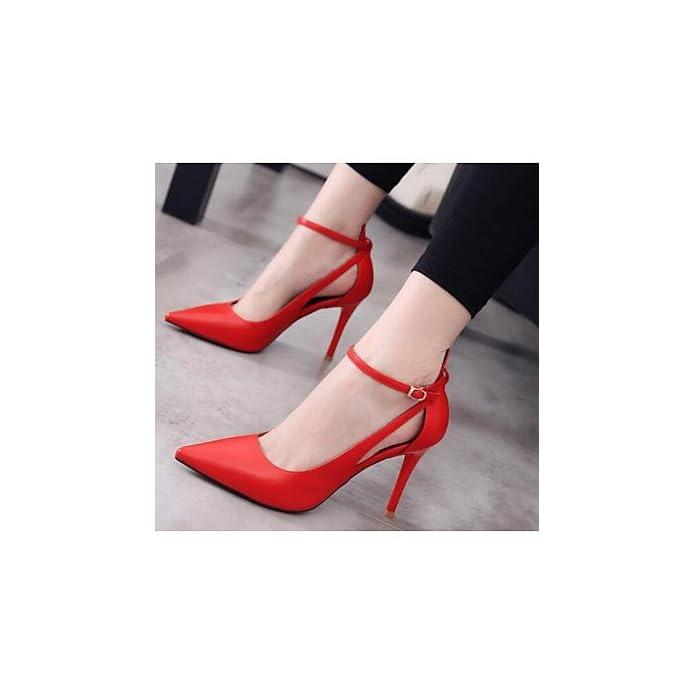 Lvyuan-ggx Da Donna Sandali Comoda Pelle Nubuck Primavera Casual Formale Marrone Rosso Piatto Ruby Us8 5 Eu39 Uk6 5 Cn40