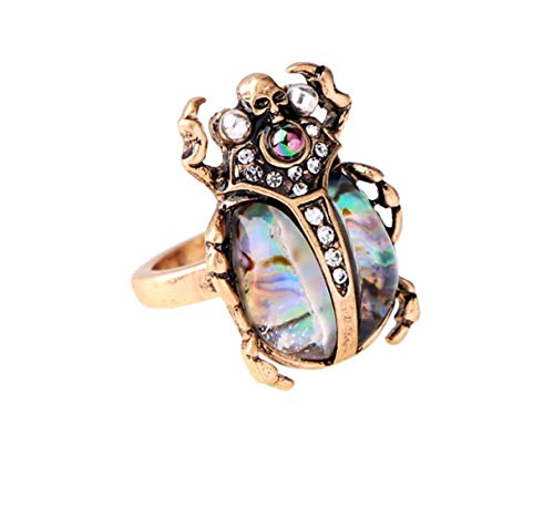 (NORTHSTAR PEARLS AND JEWELRY One Size Ring. Insect Bug Beetle Ring. Vintage Gold-Tone for Adults Skull Statement Victorian Ring. (Abalone Color))