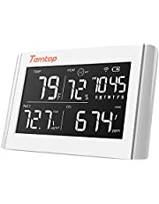 Temtop P20C Thermometer and Hygrometer PM2.5 CO2 Air Quality Monitor Data Export Tabletop Temperature Humidity Meter - White