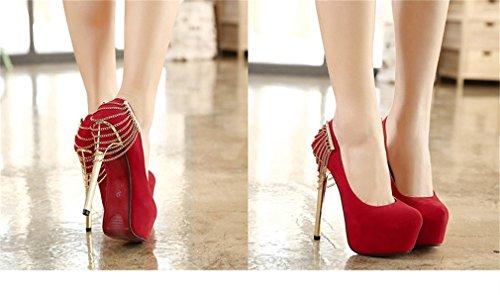Altos Rojo Nightclub Cadena Shoes De De Single Bombas Mujeres Metal Party Tacones Estiramiento Xianshu ZOR0qWwR