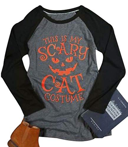 This is My Scary Cat Costume T-Shirt Women Halloween Long Sleeve Pumpkin Face Print Top Blouse Size M (Gray)