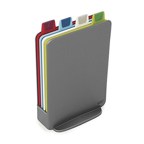 Index Chopping Boards - Joseph Joseph 60098 Index Cutting Board Set with Storage Case Plastic Color Coded Dishwasher-Safe, Mini, Gray