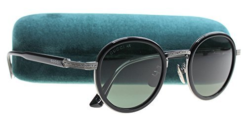 Gucci GG 0067S 001 Black Ruthenium Titanium Round Sunglasses Green - Sunglasses Gucci Round
