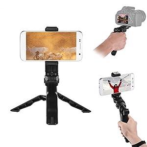 Phone Tripod, Andoer Camera stabilizer 1/4 Screw Handheld Mini Universal Smartphone Holder Tripod for Iphone Samsung Android Multi-Use Pistol Grip