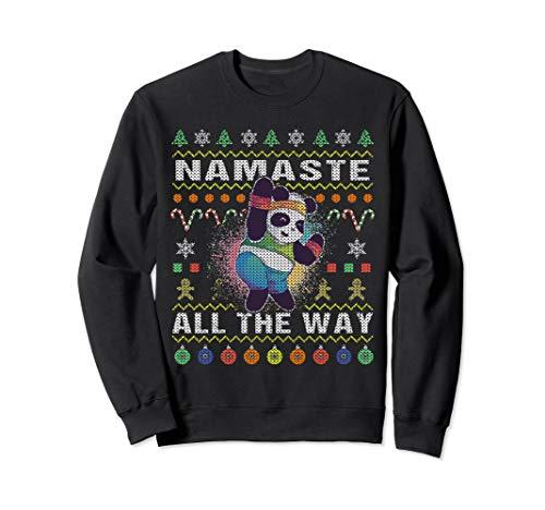 Fitness Panda Ugly Christmas Sweatshirt Namaste All The Way