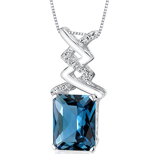 (14 Karat White Gold Radiant Cut 3.49 carats London Blue Topaz Diamond Pendant)