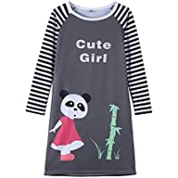 YUEXIN Big Girls Long Sleeve Cute Cartoon Dress Kids Striped Clothes 6-14 Years