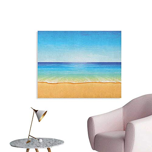 Anzhutwelve Ocean Wall Sticker Decals Paradise Beach with Sand and Sea Water Summer Exotic Nature Sunny Hot Print The Office Poster Cream Turquoise W28 xL20
