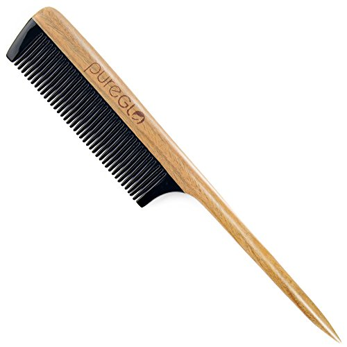 pureGLO Rat Tail Hair Comb – No Static Wooden Teasing Comb Handmade Natural Fine Tooth Buffalo Horn Comb with Premium Gift Box by pureGLO