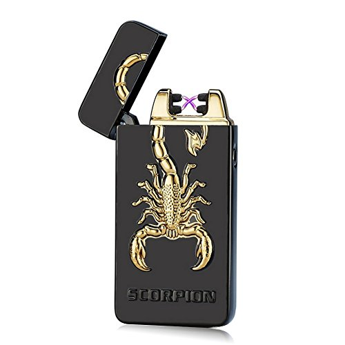 [2016 Unishow USB Rechargeable Flameless Electronic Arc Plasma Pulse Cigarette Metal Lighter in Gift Box W/ a FREE Velvet Unishow Pouch (Black Scorpion)