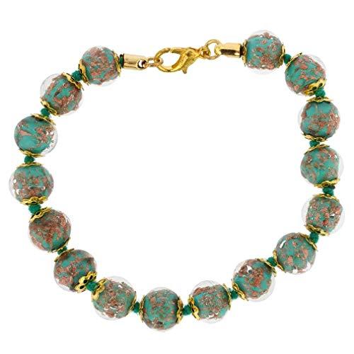 GlassOfVenice Murano Glass Sommerso Bracelet - Dark Aqua (Aqua Bracelets Murano)