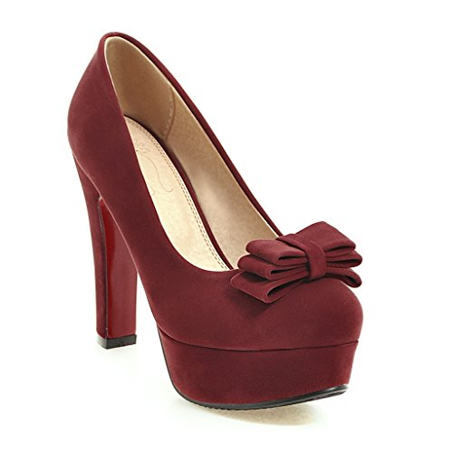 Size Color Knot Wine Solid Head Big Butterfly Women DYF High 34 Shoes Round Red Heel nqF0wfntXx