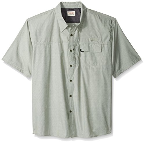 Wrangler Authentics Men's Big & Tall Short Sleeve Utility Shirt, Grape Leaf Micro Check, 3XL, Grape Leaf Micro Check, 3XL