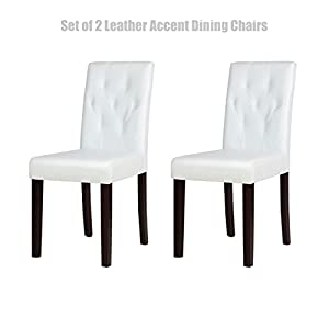 Modern Design Dining Chairs Sturdy Wooden Frame Tufted Backrest Durable Half PU Leather Seats Home Office Furniture Set of 2 White # 1458