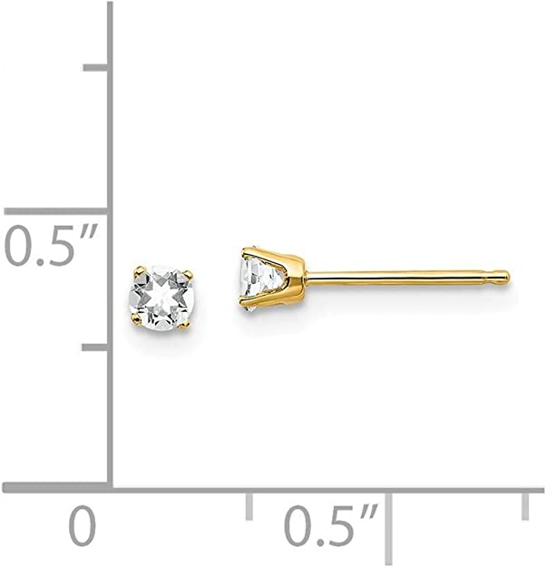 Measures 10x6mm 14k Yellow Gold Polished Spring Ring 3mm White Zircon Heart for boys or girls pendant 15 Inch