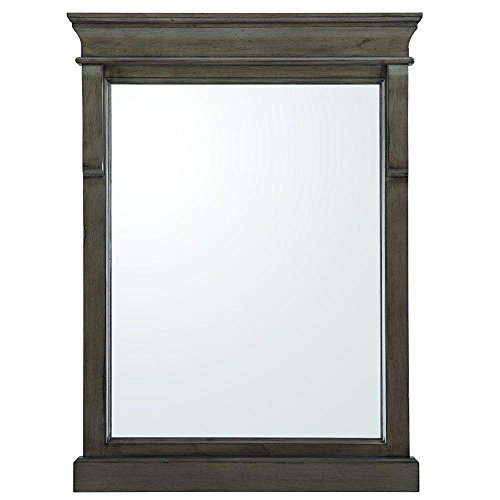 Home Decorators Collection Naples 32 in. L x 24 in. W Wall Hung Mirror in Distressed Grey by Unknown