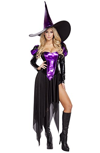 Roma Costume Women's 4 Piece Wickedly Witchy Mistress, Black/Purple, Small/Medium