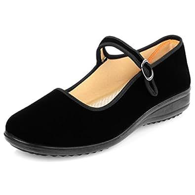 shiaili Velvet Walk Comfort Mary Jane Flats Shoes (7.5)