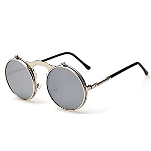 G&T 2016 Retro Fashion Metal Frame Clamshell Lens Round Beach Sunglasses(C3)